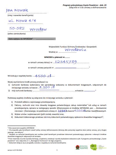 Wniosek o płatność częściową (załącznik do umowy o dofinansowanie).